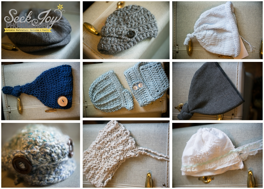 vintage hats and bonnets for newborn photography