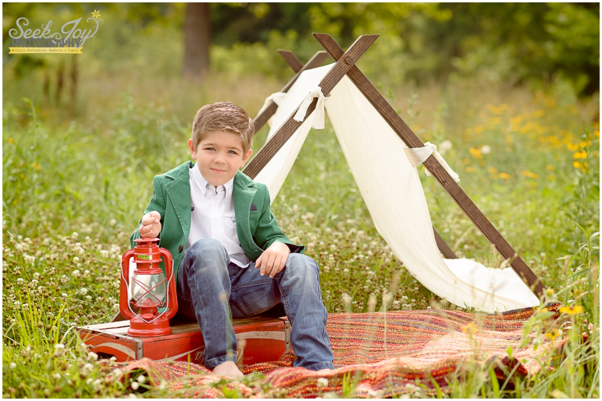 Fall Camping Style Photo Child Session Greenville Child