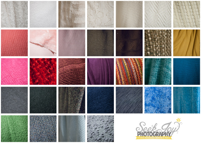 blankets of different color and textures for newborn photography