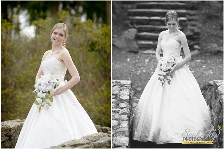 bride standing on rock bridge