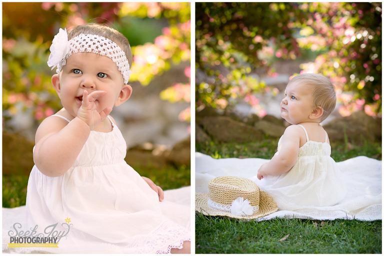 baby photography in rock quarry garden